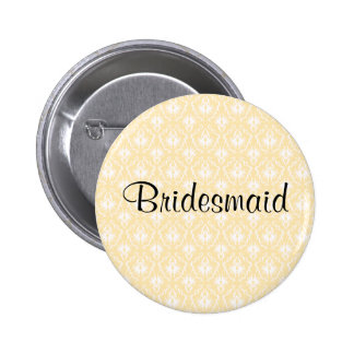 Damask in White and Cream - Tan Wedding 6 Cm Round Badge