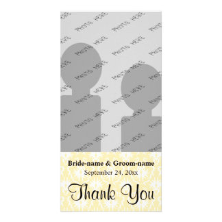 Damask in White and Cream - Tan Wedding Thank You Photo Greeting Card