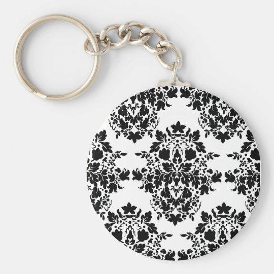 damask in White & Black Basic Round Button Key Ring
