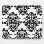 damask in White & black Mouse Pad