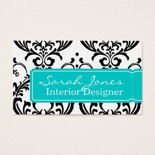 Damask Interior Design Business Card Aqua Blue