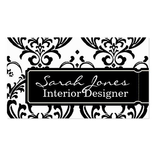 Damask Interior Design Business Card Black White