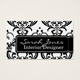 Damask Interior Design Business Card Black White