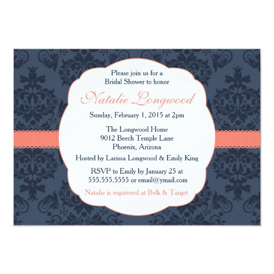 Damask Invitation Bridal, Baby Shower, coral navy
