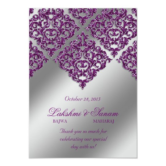 Damask Invite Photo Card Silver Purple Sparkle