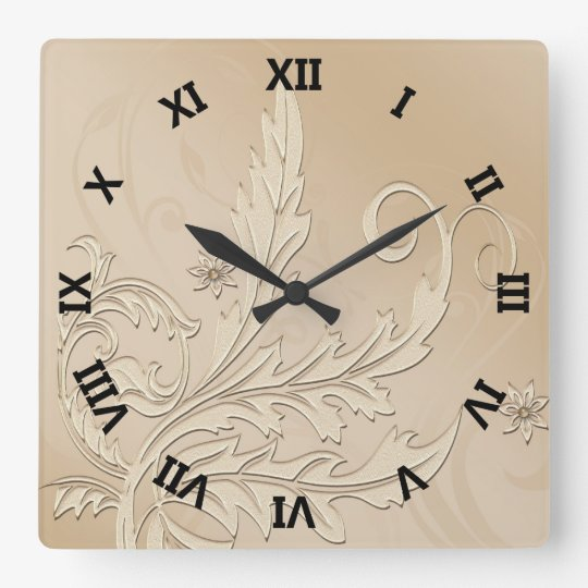 Damask Ivory Wedding Wall Clock