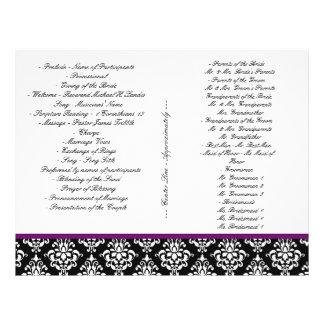 Damask Jewel Wedding Program Purple Elegant 2 21.5 Cm X 28 Cm Flyer