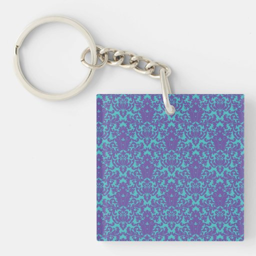 Damask Lace Purple Teal Square Acrylic Keychains