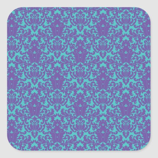 Damask Lace Purple Teal Square Sticker