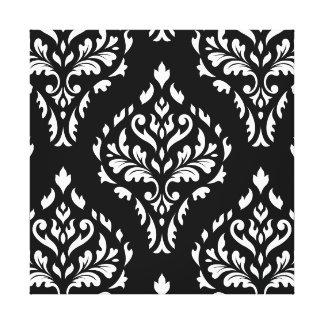 Damask Leafy Baroque Pattern B&W I Canvas Print