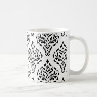 Damask Leafy Baroque Pattern B&W II Coffee Mug