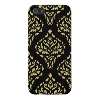 Damask Leafy Baroque Pattern Black & Gold Cover For iPhone 5/5S