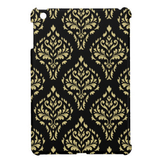 Damask Leafy Baroque Pattern Black & Gold iPad Mini Cover