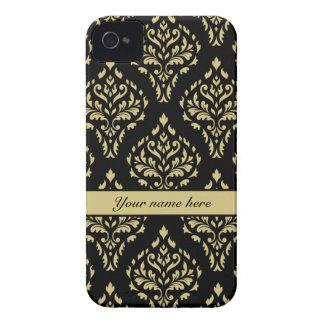 Damask Leafy Baroque Pattern Black & Gold iPhone 4 Case-Mate Case