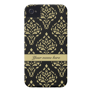 Damask Leafy Baroque Pattern Black & Gold iPhone 4 Cover
