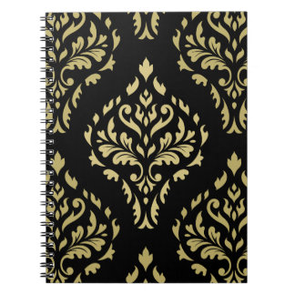 Damask Leafy Baroque Pattern Black & Golds Notebooks