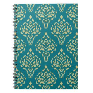 Damask Leafy Baroque Pattern Teal & Gold I Notebook