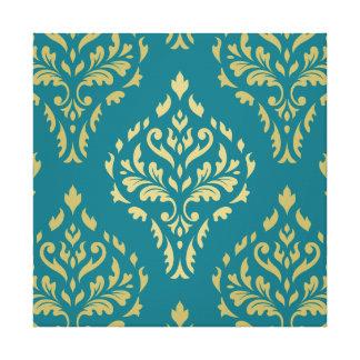 Damask Leafy Baroque Pattern Teal & Golds Canvas Print