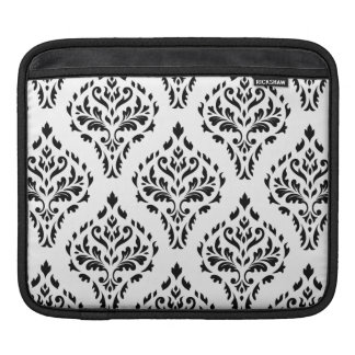 Damask Leafy Baroque Repeat Pattern B&W II iPad Sleeve