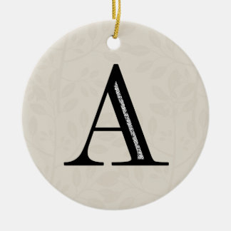 Damask Letter A - Black Round Ceramic Decoration
