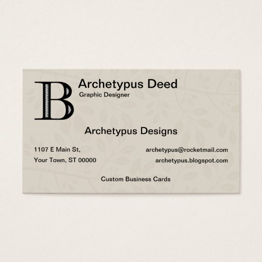 Damask Letter B - Black Business Card