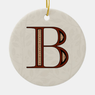 Damask Letter B - Red Christmas Ornament