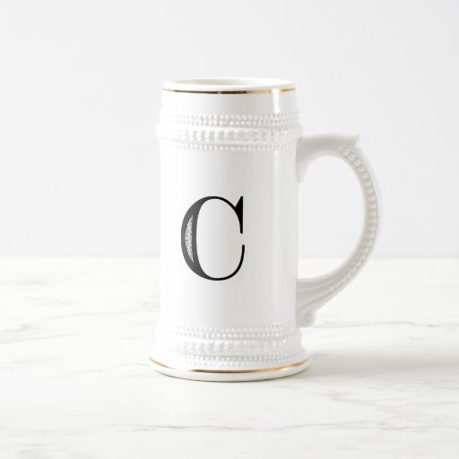 Damask Letter C - Black Coffee Mug