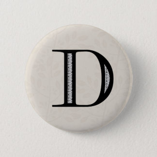 Damask Letter D - Black 6 Cm Round Badge