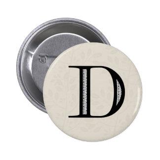 Damask Letter D - Black 6 Cm Round Badge