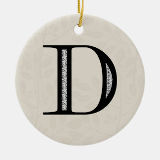Damask Letter D - Black Round Ceramic Decoration