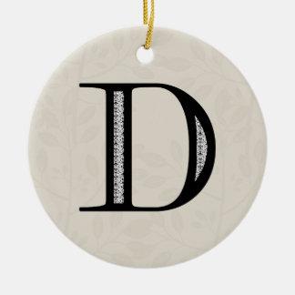 Damask Letter D - Black Round Ceramic Decoration