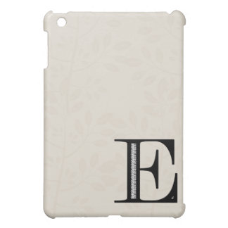 Damask Letter E - Black iPad Mini Cover