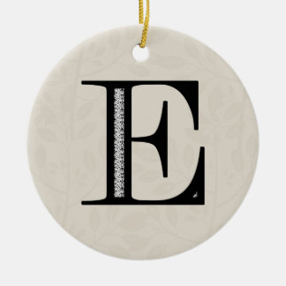 Damask Letter E - Black Round Ceramic Decoration