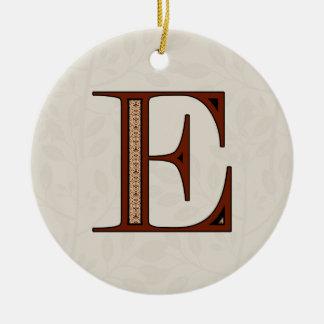 Damask Letter E - Red Christmas Ornament