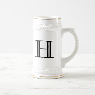 Damask Letter H - Black Beer Stein