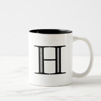 Damask Letter H - Black Two-Tone Coffee Mug