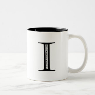 Damask Letter I - Black Two-Tone Coffee Mug