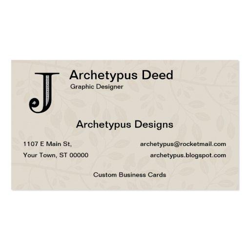 Damask Letter J - Black Business Card Template
