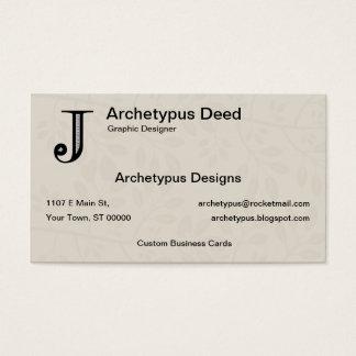 Damask Letter J - Black Business Card