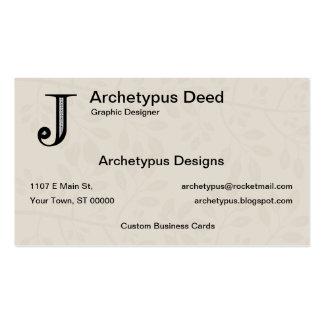 Damask Letter J - Black Pack Of Standard Business Cards