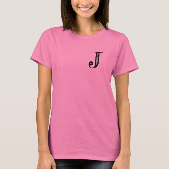 Damask Letter J - Black T-Shirt