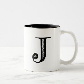Damask Letter J - Black Two-Tone Coffee Mug