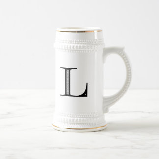 Damask Letter L - Black Beer Stein