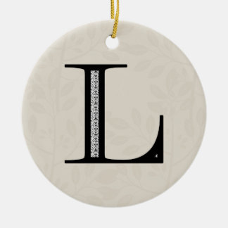Damask Letter L - Black Round Ceramic Decoration