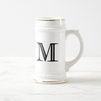 Damask Letter M - Black Beer Stein
