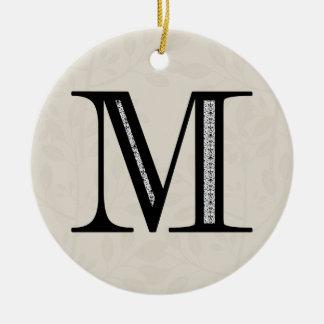 Damask Letter M - Black Christmas Ornament