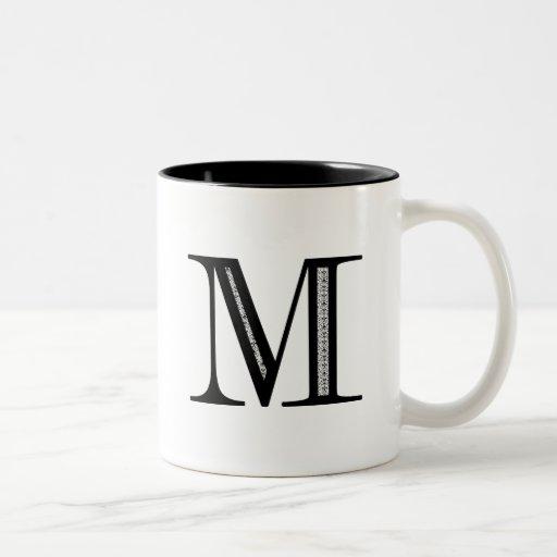 Damask Letter M - Black Coffee Mugs