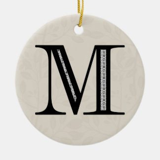 Damask Letter M - Black Round Ceramic Decoration