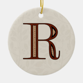 Damask Letter R - Red Christmas Ornament