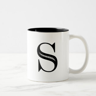 Damask Letter S - Black Two-Tone Coffee Mug
